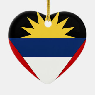 Antigua and Barbuda Double-Sided Heart Ceramic Christmas Ornament