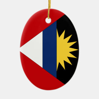 Antigua and Barbuda Double-Sided Oval Ceramic Christmas Ornament