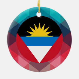 Antigua and Barbuda flag circle on modern bokeh Round Ceramic Decoration