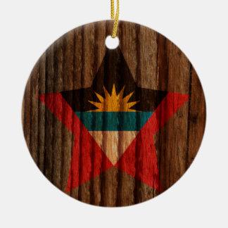 Antigua+and+Barbuda Flag Star on Wood theme Round Ceramic Decoration