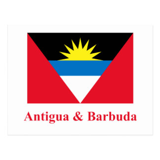 Antigua and Barbuda Flag with Name Postcard