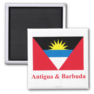Antigua and Barbuda Flag with Name Square Magnet
