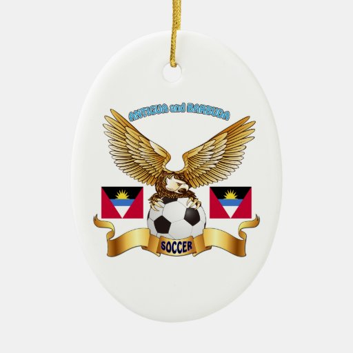 Antigua and Barbuda Football Designs Christmas Ornament