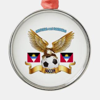 Antigua and Barbuda Football Designs Round Metal Christmas Ornament