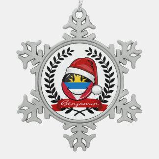 Antigua and Barbuda Smiley Christmas Style Pewter Snowflake Decoration