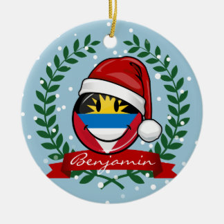 Antigua and Barbuda Smiley Christmas Style Round Ceramic Decoration