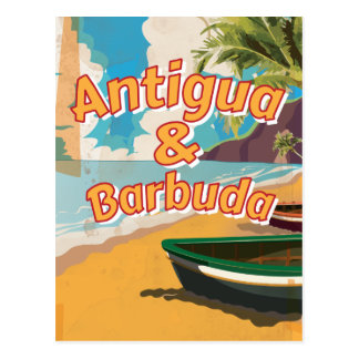 Antigua and Barbuda Vintage vacation Poster Postcard