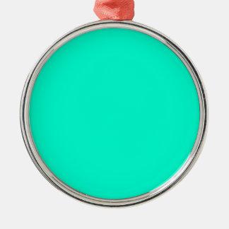 Antigua Aqua Aquamarine Blue Green Tropical Silver-Colored Round Decoration