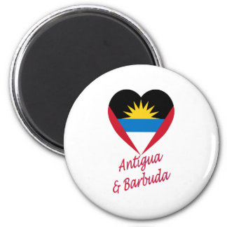 Antigua & Barbuda Flag Heart 6 Cm Round Magnet
