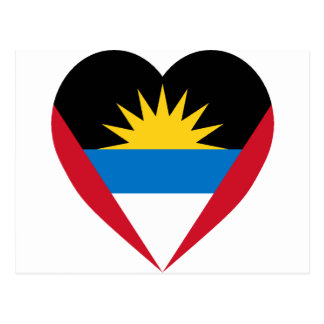 Antigua & Barbuda Flag Heart Postcard