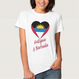 Antigua & Barbuda Flag Heart Tee Shirt