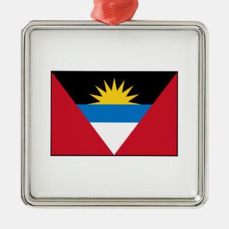 Antigua & Barbuda Flag Silver-Colored Square Decoration
