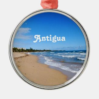 Antigua Beach Round Metal Christmas Ornament