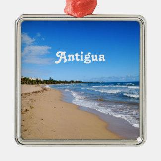 Antigua Beach Silver-Colored Square Decoration