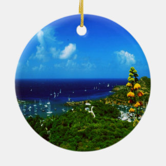 Antigua Double-Sided Ceramic Round Christmas Ornament