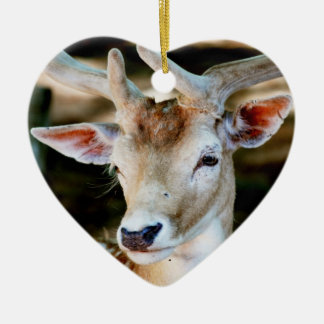 Antigua Fallow Deer Ceramic Heart Decoration