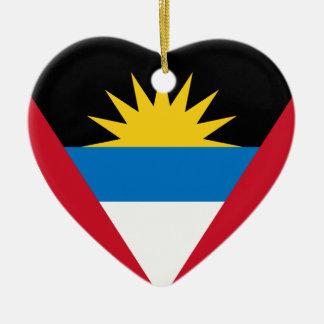 Antigua Flag Heart Ceramic Heart Decoration