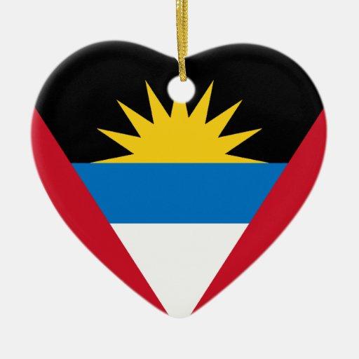 Antigua Flag Heart Christmas Tree Ornament