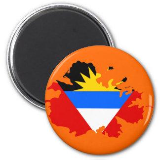 Antigua flag map 6 cm round magnet