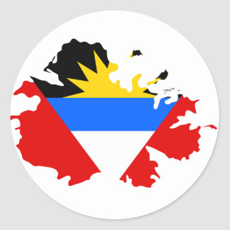 Antigua flag map classic round sticker