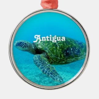 Antigua Hawk Billed Turtle Silver-Colored Round Decoration