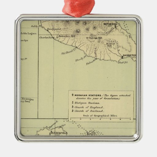 Antigua Lithographed Map Christmas Ornament