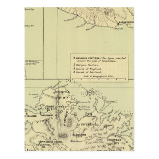 Antigua Lithographed Map Postcard