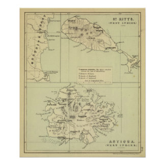 Antigua Lithographed Map Poster