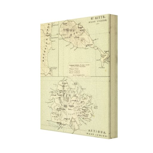 Antigua Lithographed Map Stretched Canvas Print