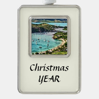 Antigua View Falmouth Harbor Silver Plated Framed Ornament