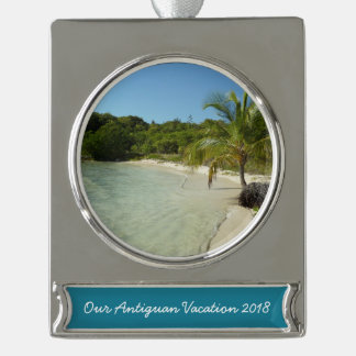 Antiguan Beach Beautiful Tropical Landscape Silver Plated Banner Ornament