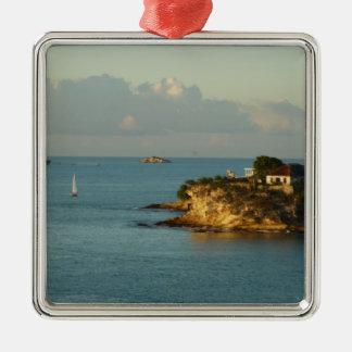 Antiguan Coast Beautiful Island Seascape Silver-Colored Square Decoration