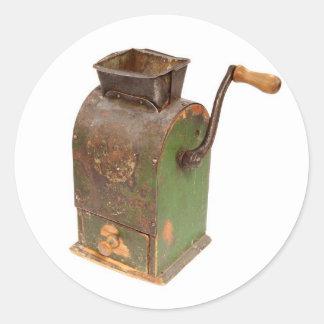 Antigue coffee mill round sticker
