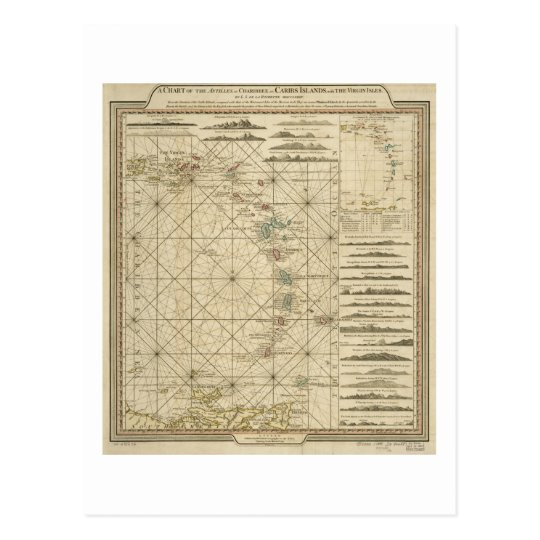Antilles Charibbee Caribbean Virgin Isles Map 1784 Postcard