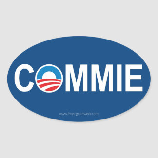 Antiobama Commie Oval Sticker