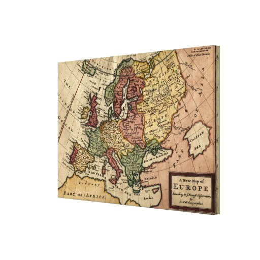 Antiquarian 1721 Map of Europe by Herman Moll Gallery Wrapped Canvas