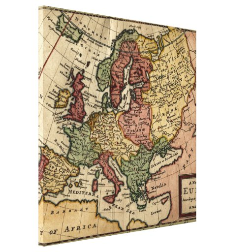 Antiquarian 1721 Map of Europe by Herman Moll Canvas Prints