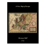 Antiquarian 1721 Map of Europe by Herman Moll Post Card
