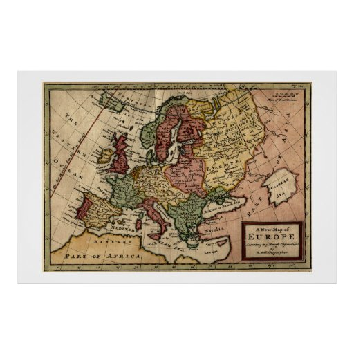 Antiquarian 1721 Map of Europe by Herman Moll Posters