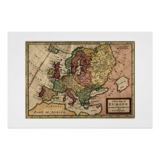 Antiquarian 1721 Map of Europe by Herman Moll Poster