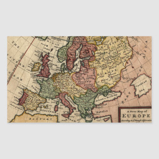 Antiquarian 1721 Map of Europe by Herman Moll Rectangular Sticker