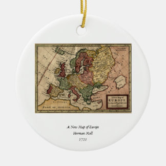 Antiquarian 1721 Map of Europe by Herman Moll Round Ceramic Decoration