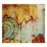 Antiquarian Print with Compass and Poppies