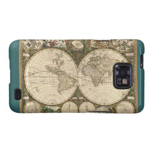 Antique 1660 World Map by Frederick de Wit Samsung Galaxy Case