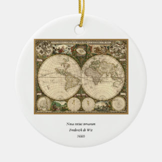 Antique 1660 World Map by Frederick de Wit Christmas Ornament