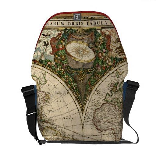 Antique 1660 World Map by Frederick de Wit Commuter Bag