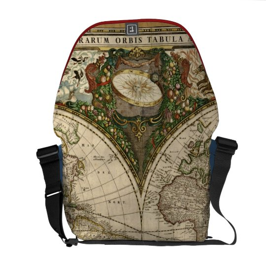 Antique 1660 World Map by Frederick de Wit Commuter Bag