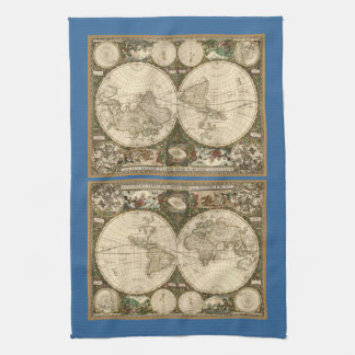 Antique 1660 World Map by Frederick de Wit Hand Towels