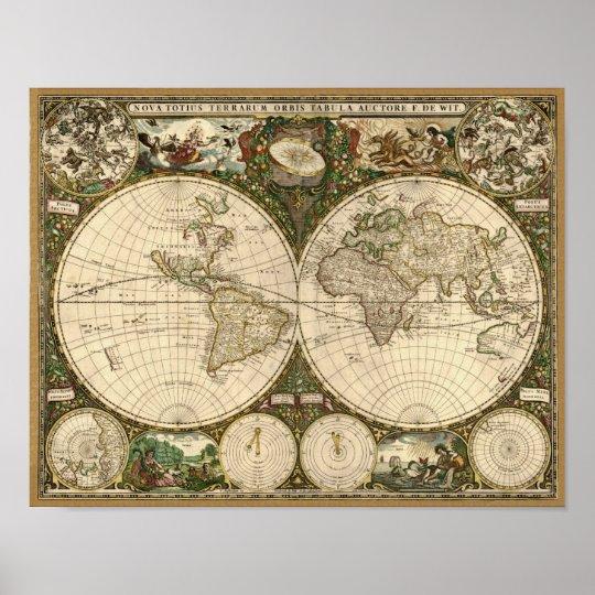 Antique 1660 World Map by Frederick de Wit