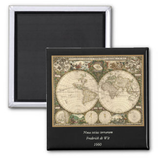 Antique 1660 World Map by Frederick de Wit Square Magnet